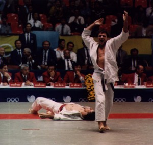 Waldemar Legien celebrating his first Olympic Gold Medal in the 1988 Seoul Olympics