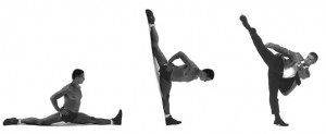 Front split is like a full extension of high roundhouse kick (mawashi-geri)