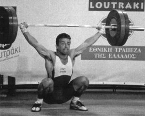 Front view of an Olympic weightlifting snatch performed by Tom Goegebuer, Belgium.
